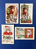 Set of 4 Antique Santa Postcards EMB & GOLD Trim, Colorful UNPOSTED w Value