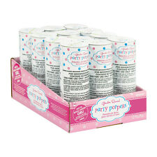 12 x Gender Reveal Baby Shower Pink Girls Poppers Spring Loaded Confetti Cannon
