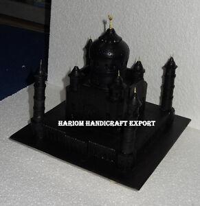 "14 "" Marbre Noir Kit Tajmahal Agra 8 Wonders Beau Fait Couloir Décor E808B"