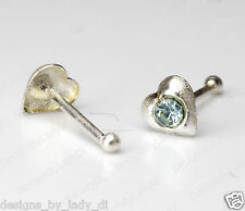 Silver Nose Stud Bone Ring One (1) 1/8 Inch Heart Baby Blue Gem Sterling Jewelry