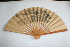 Chinese Bamboo Ink & Watercolour Painting Rice Paper Large Folding Hand Fan #2