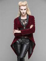 New Women Jacket Coat Velvet Gothic Victorian Steampunk Regency Cosplay Tailcoat