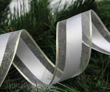 NEW 3 METRES CHRISTMAS RIBBON WHITE GOLD WIRE EDGED GIFT DECORATION 'CHARITY'