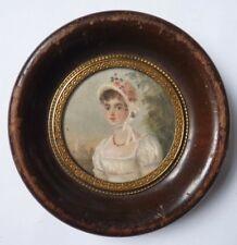 Portrait  femme peinture miniature impressionniste fin du 19e siècle painting