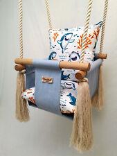 Baby girl boy handmade wooden swing, EXTRA DEEP Christmas, first Birthday