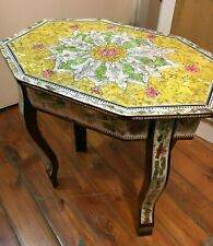"""Handmade Wood End Table Inlaid Mother of Pearl Persian Design (15.4""""x13.8)"""