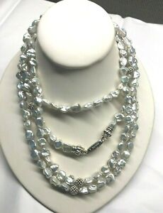 "Lagos Caviar Sterling Silver 18k Gold Luna Keshi Pearl 70"" Long Necklace"