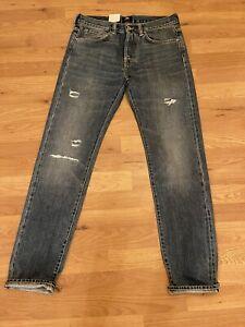 Edwin ED80 Red Listed Selvage Denim Jeans Takara Repair Wash W30 L32 Blue Slim