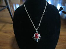 NEW Chico's Goldtone Chain Necklace Red Black Clear Stones Jewels Pendant