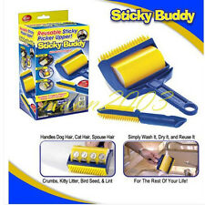 Reusable Sticky Buddy Carpet Clothes Lint Fur Remover Cleaner Roller Brush TV