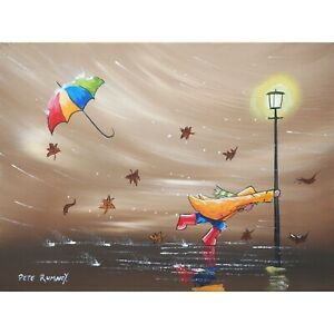 Pete Rumney Original Canvas Art Dont Let Go Windy Day Trouble Fun Signed Artwork
