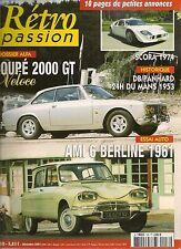 RETRO PASSION 158 SCORA 1974 AMI 6 ALFA ROMEO GIULIA 2000 GTV RENE BONNET 1958