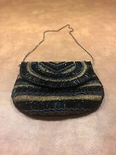 Vintage Black And Gold Beaded Purse