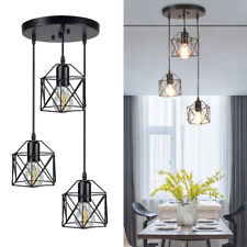 3-Lights Chandelier Lamp Industrial Ceiling Pendant Light Fixture Island Caged