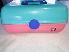 Vintage Original Caboodles Large Makeup Train Tiered Case Mirror Pink Teal #2620