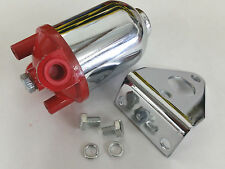 Small Universal Performance Canister Style Fuel Filter W/ Bracket SBC BBC Ford