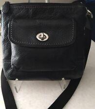 COACH Black Park Leather Swingpack Cross Body Bag Purse 🥀🦋 EUC