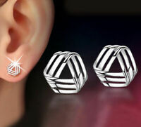 Womens Earrings Silver Plated Round Stud Studs Crystal Fashion Jewellery Ear UK