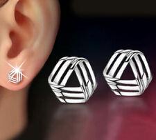 Womens Earrings Silver Plated Round Stud Studs Crystal Fashion Jewellery Ear UK