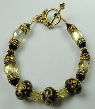 crafted Black  LAMPWORK  BRACELET WITH Swirls & Black & Yellow CRYSTALS