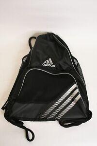 Adidas Black White & Gray 18.5-Inch Polyester Drawstring Bag Three Mesh Pockets