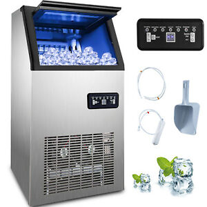 50kg/24h Eiswürfelmaschine Eiswürfelbereiter Ice Maker Eismaschine Edelstahl