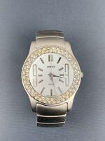 Chico's Cuff Bracelet Metal Analog Watch, White Dial with Rhinestone