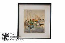 Benjamin Jorj Harris Watercolor Seascape Painting Sailboats Dock Marine Ocean