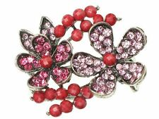 Pink Crystal Flower Side Hair Clamp Clip