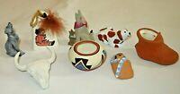 Vintage Native American Pottery LOT Storyteller Bell Dog Baby Ramey (T62)