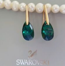 Crystal earrings Drop Earrings Genuine Swarovski element Emerald Green
