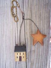 Primitive Saltbox House Fan Pull Light Chain W