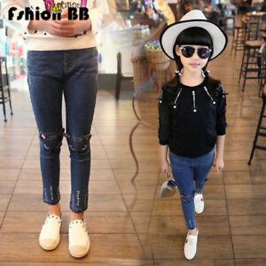 Toddler-Girls-Baby-Kids-Cat-Skinny-Pants-Denim-Jeans-Stretchy-Leggings-Trousers