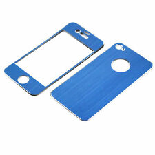 High Quality Brushed Aluminium Skin Case Blue For iPhone 4/4S Front & Back