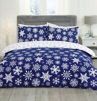 Christmas Falling Blue & White Snowflakes Duvet Cover Pillowcases Bedding Set