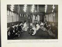 Original Old Antique Print Modern Shinto Marriage Service Performed In House