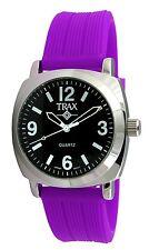 Trax Women's Casual Quartz Movement Shelley Black Dial Purple Rubber Strap Watch