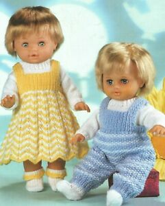 "Knitting Pattern DK Baby Dolls Clothes 12 - 22"" Chevron Dress, Dungarees, Socks"
