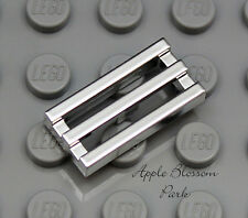 NEW Lego 1x2 CHROME SILVER BAR TILE - Car Truck Vehicle Engine Grill -Fire Grate