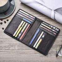 Soft Genuine Leather Men's Travel Passport Cover Folder Bag Card Holder Wallet A