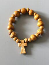 Wooden Bead Cross Bracelet