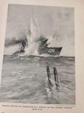 R3 Ephemera 1918 Book Plate Sub E9 Sinks Torpedo Boat S126