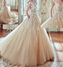 Vintage Champagne Lace Appliques Wedding Dress 2017 New Bridal Gown With Pockets