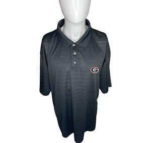 UGA Bulldogs Mens XL Black Striped Dri Fit Short Sleeve Polo Shirt NCAA