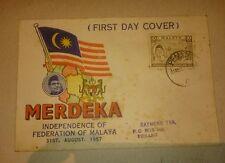 Tunku Portrait 1957 Merdeka Malaya Tunku Abdul Rahman stamp FDC Blue Header