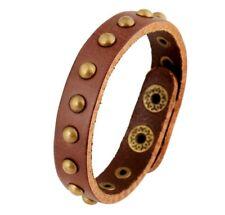 MEN / Women Vintage Punk Brown Rivet Genuine Leather Wristband/ Leather Bracelet