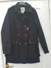 NEXT SMART BLACK COTTON CONTRAST RIBBON TRIM DOUBLE BREASTED TRENCH MAC COAT 12