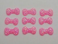 200 Pink Bowknot Bows Flatback Resin Dotted Rhinestone Gems 13X7mm