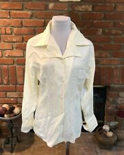 Vintage Campagnie International Express Cream Button Down Dressy Shirt Top Small