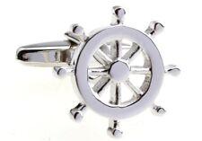 Ship Wheel Pair Cufflinks Silver Yacht Wedding Fancy Gift Box & Polishing Cloth